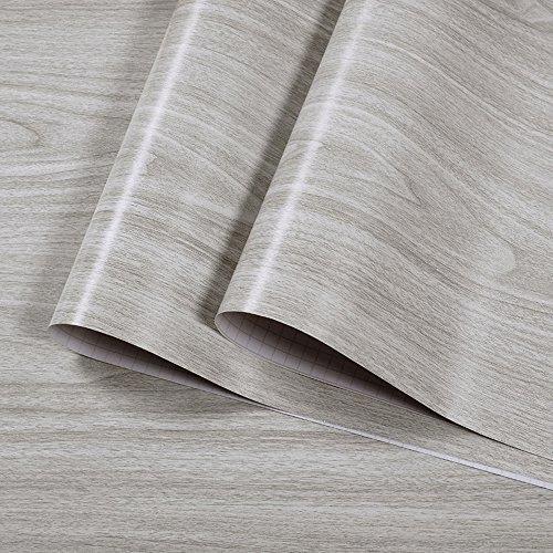 texturé Gris Grain de bois en vinyle Contact papier film adhésif autocollant décoratif Bois étagère Doublure de tiroir pour armoires de cuisine Porte 45x 300cm LikeBrezze