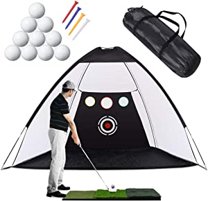 Golf Practice Net, 10 x 7ft Golf Hitting Net with Chipping Target Pockets,Golf Training Aids Practice Net Set - 3 in 1 Foldable Golf Mat -10 Golf Balls - 4 Golf Tees, Indoor and Outdoor Golf Training