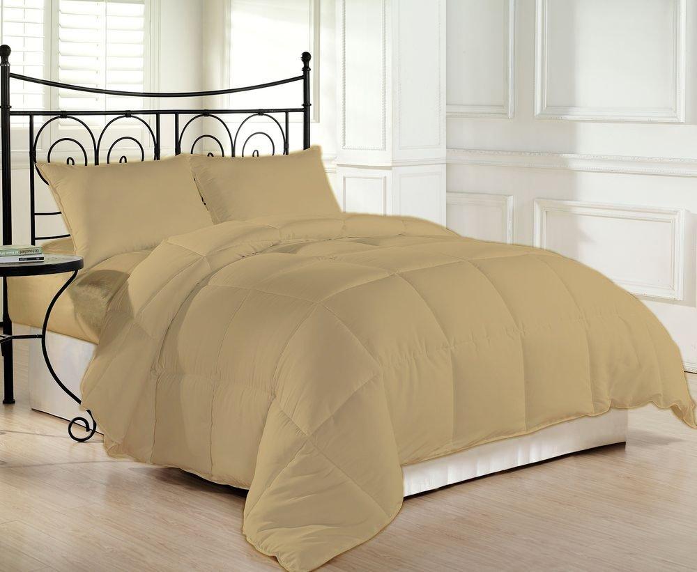 Comforter 400 GSM Microfiber Filled Medium Weight 1000 Thread Count 1 Piece Hypoallergenic 100% Pima Cotton Solid By Serene Linens (Queen/Full, Beige)