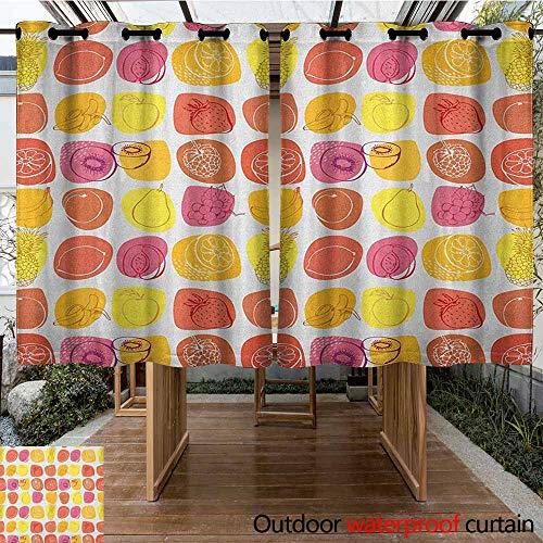 AndyTours Grommet Outdoor Curtains,Fruits,Retro Pineapple Lemon Kiwi Raspberry Pop Art Modern Food Icons Caricature Graphic,for Porch&Beach&Patio,K183C160 Multicolor