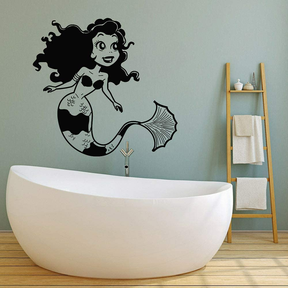 Geiqianjiumai Pegatinas de Pared de Vinilo mítico Merman océano baño niña habitación Kindergarten Pared calcomanía Negro 74x76cm: Amazon.es: Hogar
