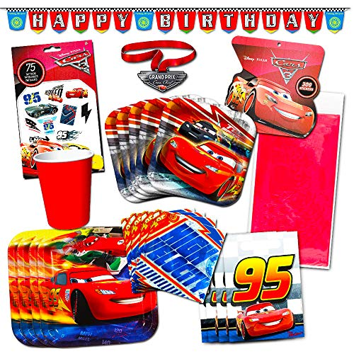 Cars Birthday Supplies (Disney Cars Party Supplies Ultimate Set (134 Pcs) -- Birthday Party Decorations, Party Favors, Plates, Cups, Napkins, Table Cover and)