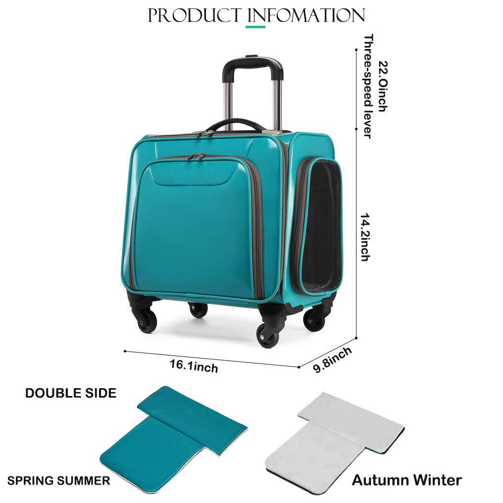 CT COUTUDI Expandable Soft Sided Pet Travel Carrier Dog Cat Luggage with Wheels Four Season Double Side Mat (Green) by CT COUTUDI