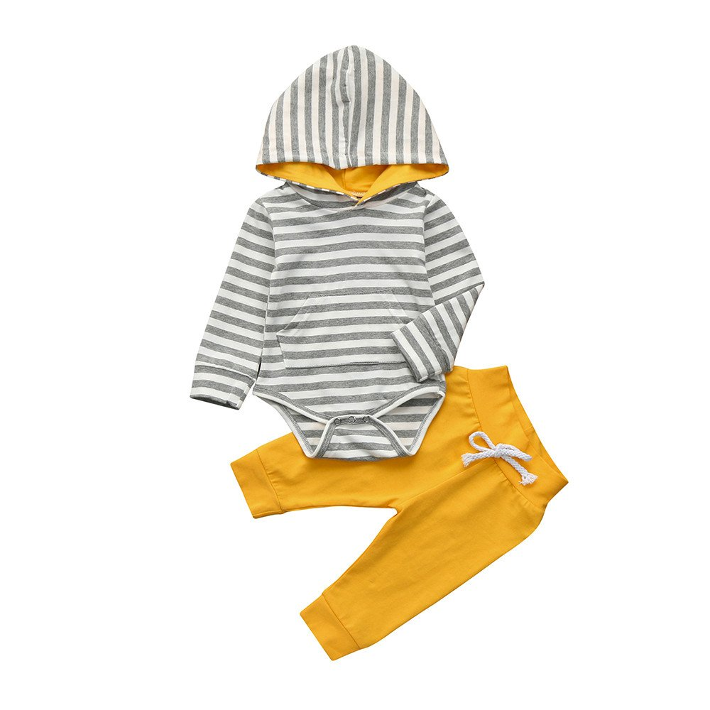 Toddler Clothes Set Baby Boys Girls Long Sleeves Stripe Hoodie Romper+Pants Outfits (12-18 Months, Yellow) Fdsd