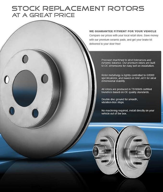 SHIPS FROM USA!!-Tax Incl. 5lug 2 OEM Replacement Great-Life Premium Disc Brake Rotors -Combo Brake Kit- X3 Front Kit 4 Semi-Met Pads