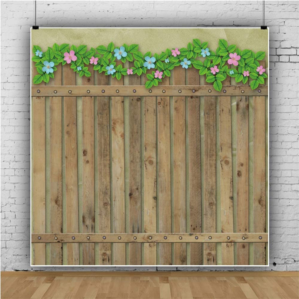 AOFOTO 5x5ft Wooden Fence Photography Background Green Leaves and Flowers Decorated Aged Wood Plank Board Backdrops for Pictures Portrait Shooting Photo Studio Drapes