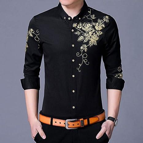 YAYLMKNA Camisa Camisa De Vestir para Hombre Camisas De Vestir Estampado De Flores Camisa con Botones Hombre Slim Fit Manga Larga, 3XL: Amazon.es: Deportes y aire libre