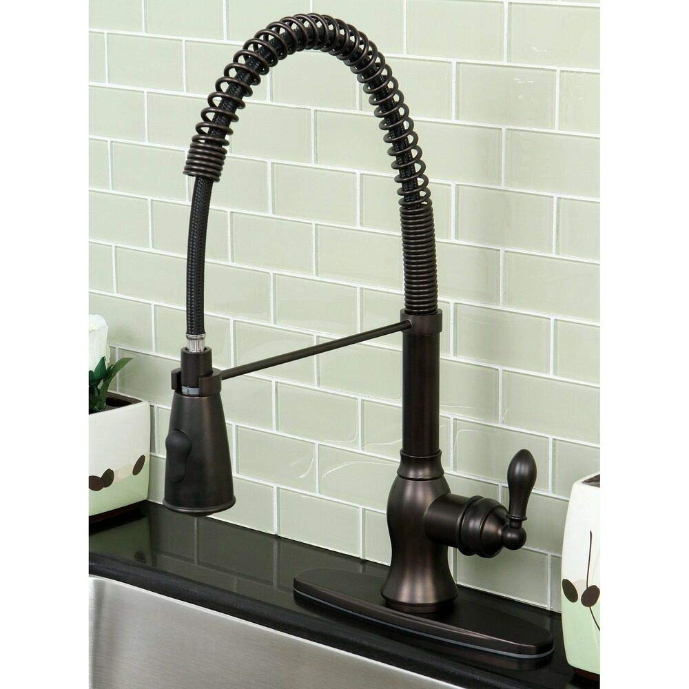 Kitchen Faucets-This is the Modern Oil Rubbed Bronze Spiral Pull-down Kitchen Faucet Kitchen Faucets with swiveling faucet features an oil rubbed bronze finish and the pull-down sprayer reaches 36 inches long. Guaranteed