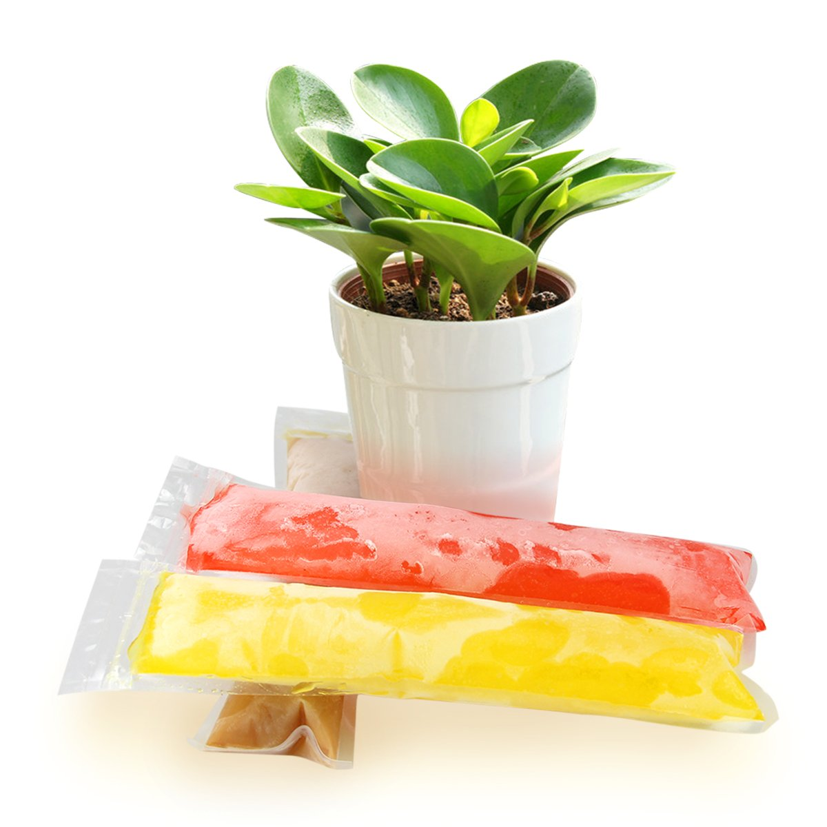 Ohomr 150pcs Popsicle Mold Bags with 5 Free Popsicle Holder and Folding Funnel for Freezing DIY Ice Candy Fruit Juice Snack Yogurt Pop Pouch