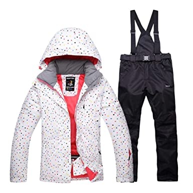 65779ce308 Amazon.com  Fashion Women s High Waterproof Windproof Snowboard Colorful  Printed Ski Jacket and Pants Ski Suit White  Clothing