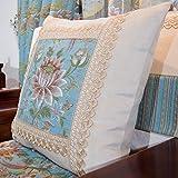 DXG&FX wooden pillow european fabric pillow back cushion chinese-style sofa cushions and a waist waist cushion bedside cushion -A 17x46cm(7x18inch)