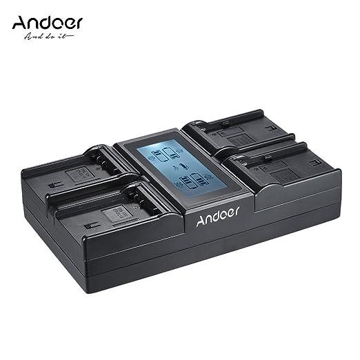3 opinioni per Andoer 4-Channel Camera digitale Batteria Caricabatterie LCD Display per