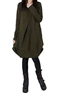 Vestiti Donna Eleganti Autunno Invernali Manica Lunga Rotondo Collo Casual  Larghi Tinta Unita Hippie Moda Irregolare 9361ab1e20d