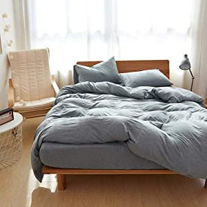 DOUH Bedding 3 Piece Duvet Cover Set Jersey Knit Cotton Duvet Cover with Pillow Shams Ultra Soft Solid Pattern Bedding Sets Comfy Blue Grey Queen Size