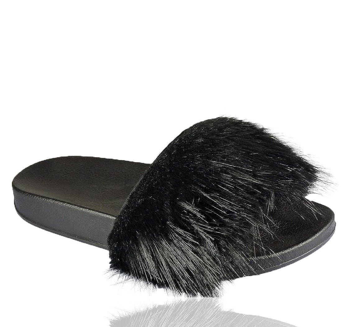 b005b1d7ec32 UK Women Slip On Flat Furry Rubber Slider Long Fur Slipper Rihanna Sandal  Ladies  Amazon.co.uk  Shoes   Bags