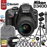 Nikon D3400 24.2 MP DSLR Camera with NIKKOR AF-P DX 18-55mm VR Lens Black Nikon SB-300 Speedlight Flash and Sandisk 128GB SDXC Memory and Pro Accessory Bundle
