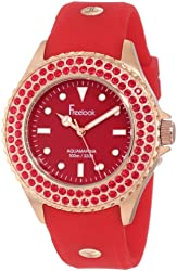 Freelook Women's HA9036RG-2C Red Band & Dial Rose Gold Case Red Swarovski Bezel Watch