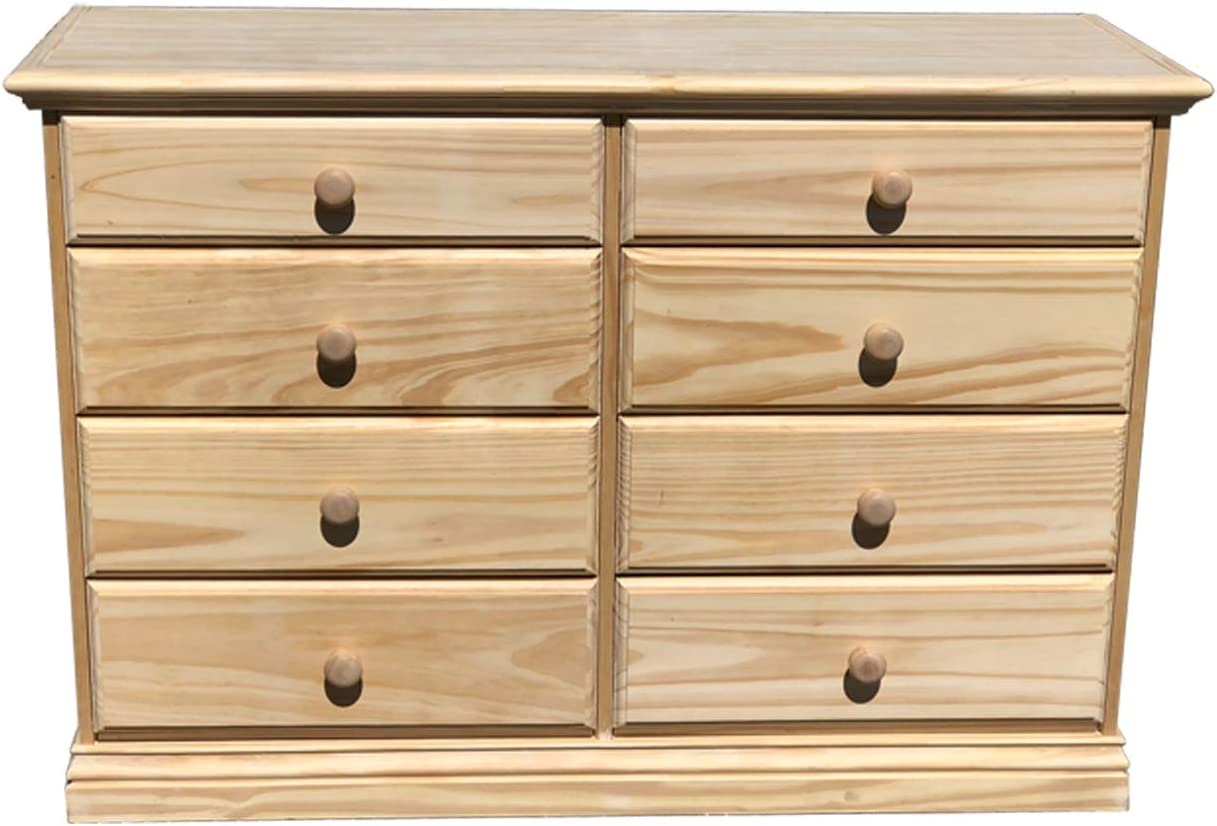 Wide Wooden Eight Drawer Dresser Unfinished Chest of Drawers Solid Pine Wood Fully Assembled Kids Bedroom Furniture 50.78 inches Large 30.45 inches Double Dresser No Assembly Required