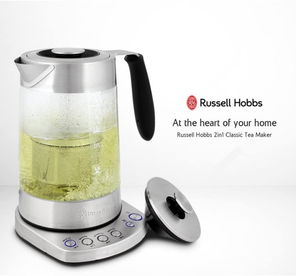 Amazon Com Russell Hobbs 2 In 1 Combined Electric Tea Maker And Water Kettle Rh S0816tm Stainless Steel Glass 1 7l Kitchen Dining