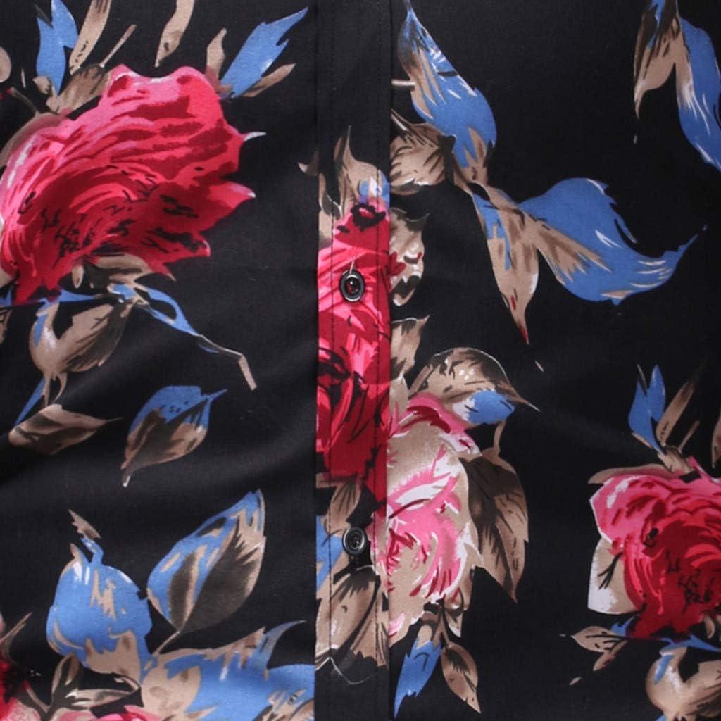 Mens Floral Print Shirt Casual Button Down Turn-Down Collar Short Sleeve Hawaiian Shirt Top