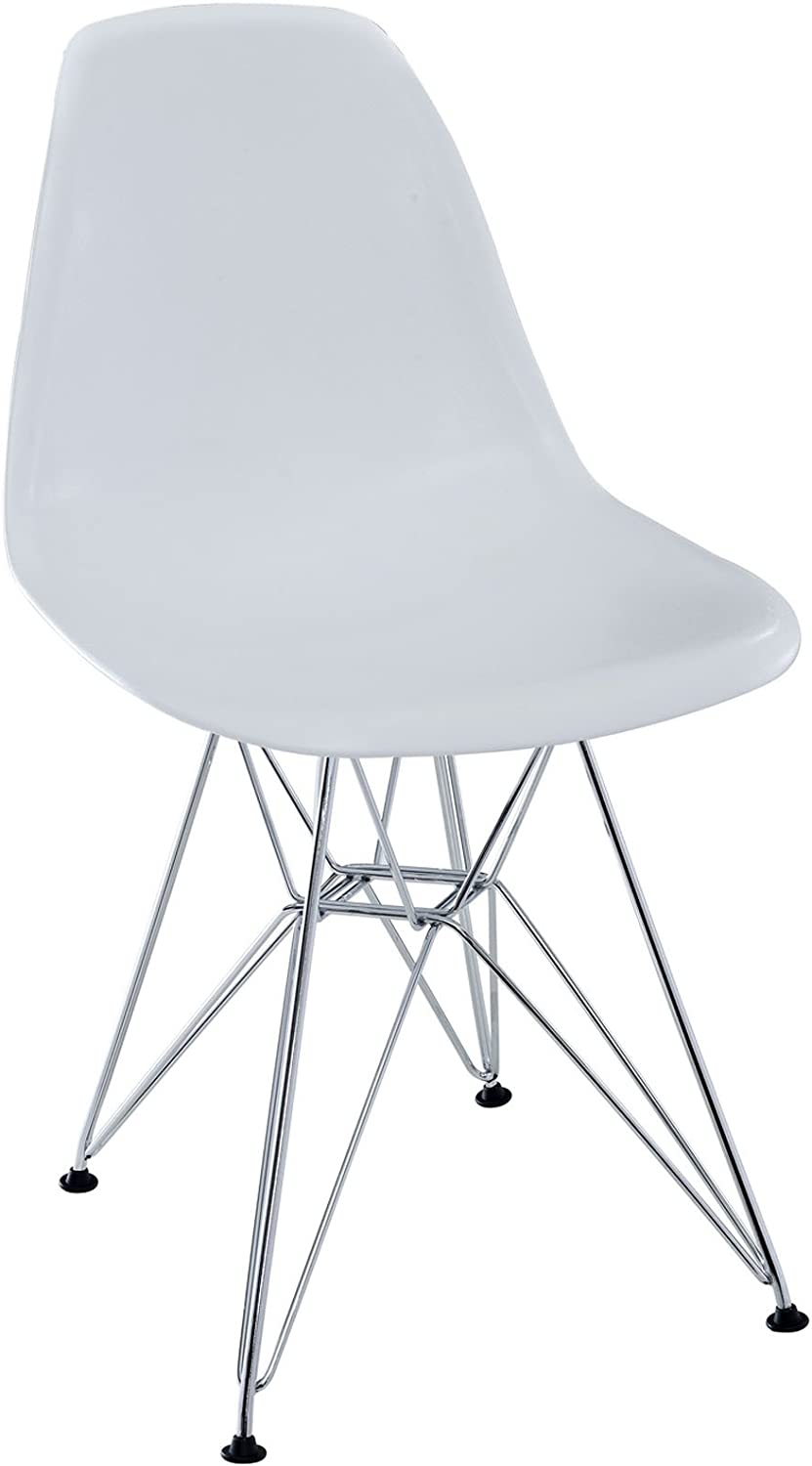 Lexington Modern MO-EEI-179-WHI Paris Mid-Century Modern Molded Plastic with Steel Metal Base, One Dining Chair, White