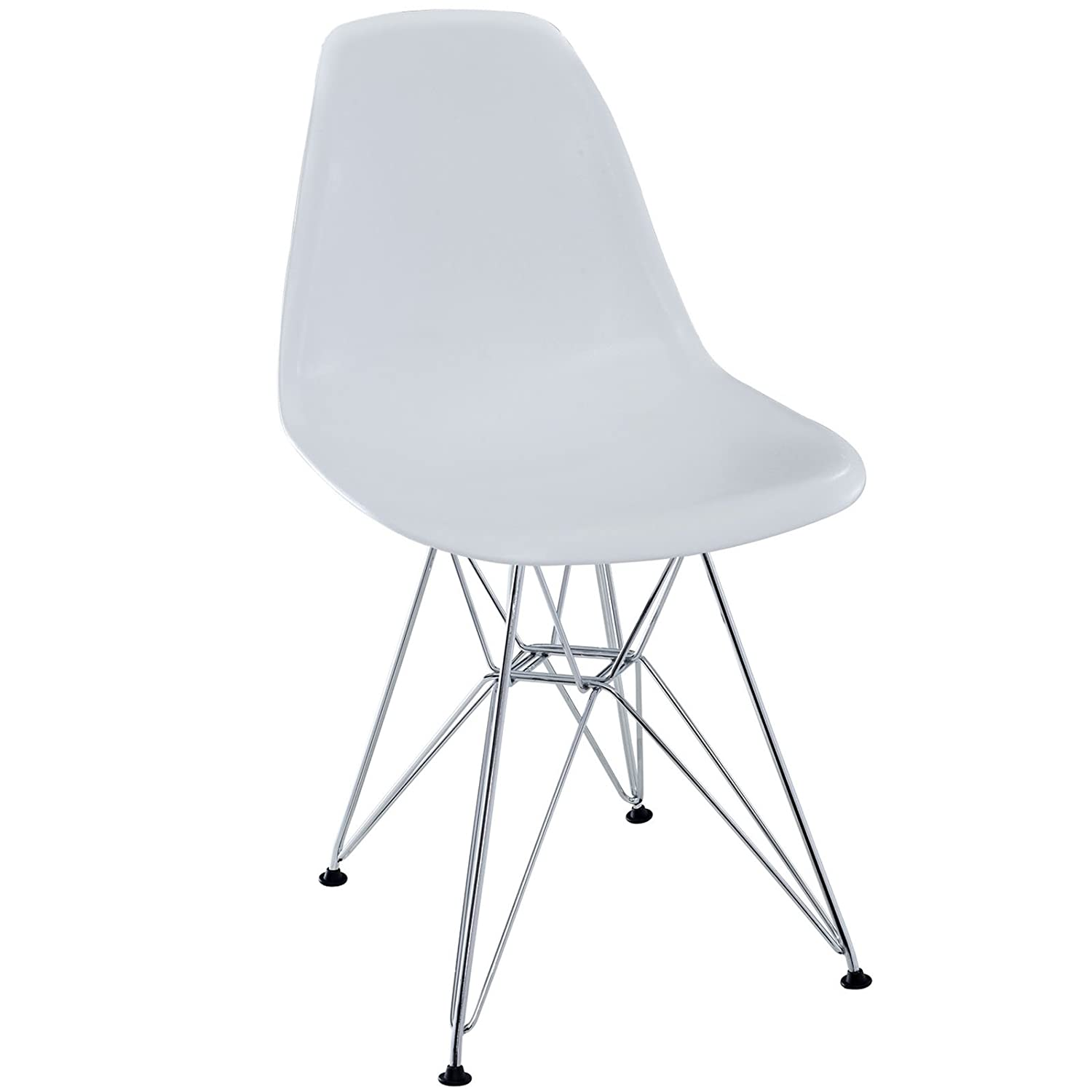 Amazon.com   Modway Plastic Side Chair In White With Wire Base   Chairs