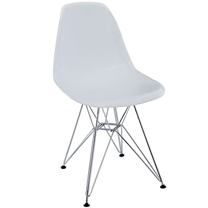 Modway Paris Mid Century Modern Side Chair With Steel Metal Base In White