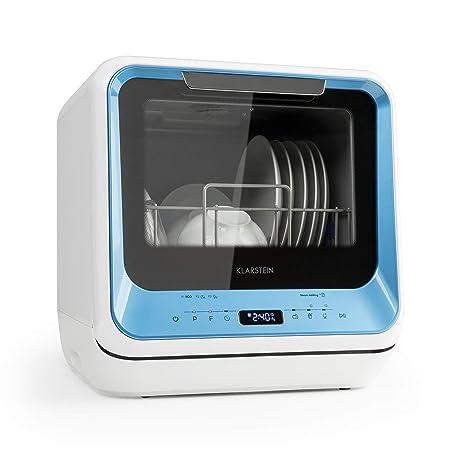 Klarstein Amazonia Mini - Lavavajillas , Máquina lavaplatos , 6 programas incluyendo eco , Necesita 5 litros de agua , Pantalla LED , Táctil , Azul