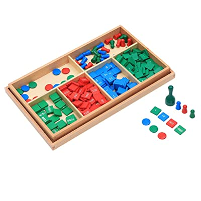 Montessori Baby Math Mathematics Decimal System Teaching Materials Children's Educational Toys Preschool Education Stamp Game and Paper (Stamp Game): Toys & Games