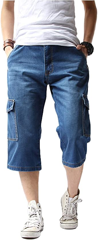 MEN/'S DENIM AND TWILL BIKER JEAN SHORTS SIZE 30 TO 50