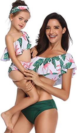 FeelinGirl Madre e Hija Bikini de 2 Piezas Volantes Estampado Floral Bañador Bandeau Sexy y Triángulo Bragas de Cintura Alta Conjunto de Traje De Baño para Familia Verano Playa (sin Diadema)