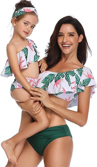 Family Matching Women Girl Swimwear Bikini Bathing Suit Solid color Swimsuit