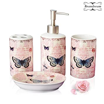 High Quality Brandream Chic Pink Butterfly Bathroom Sets Bathroom Accessories Set  Ceramic 4pcs
