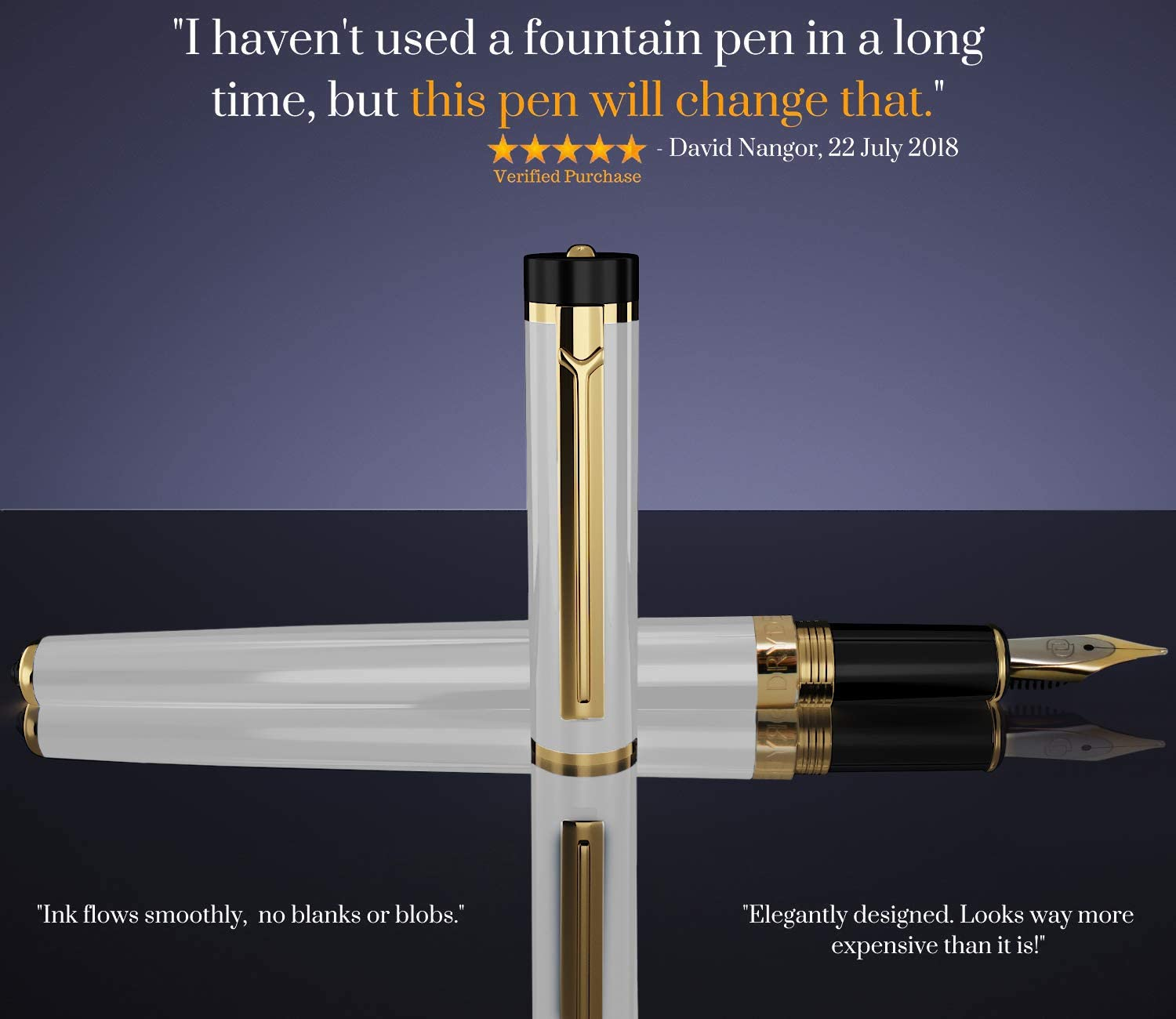 Dryden Fountain Pen Medium Nib Classic Design Pearl White Metallic Finish comes with Ink Bottle Adapter