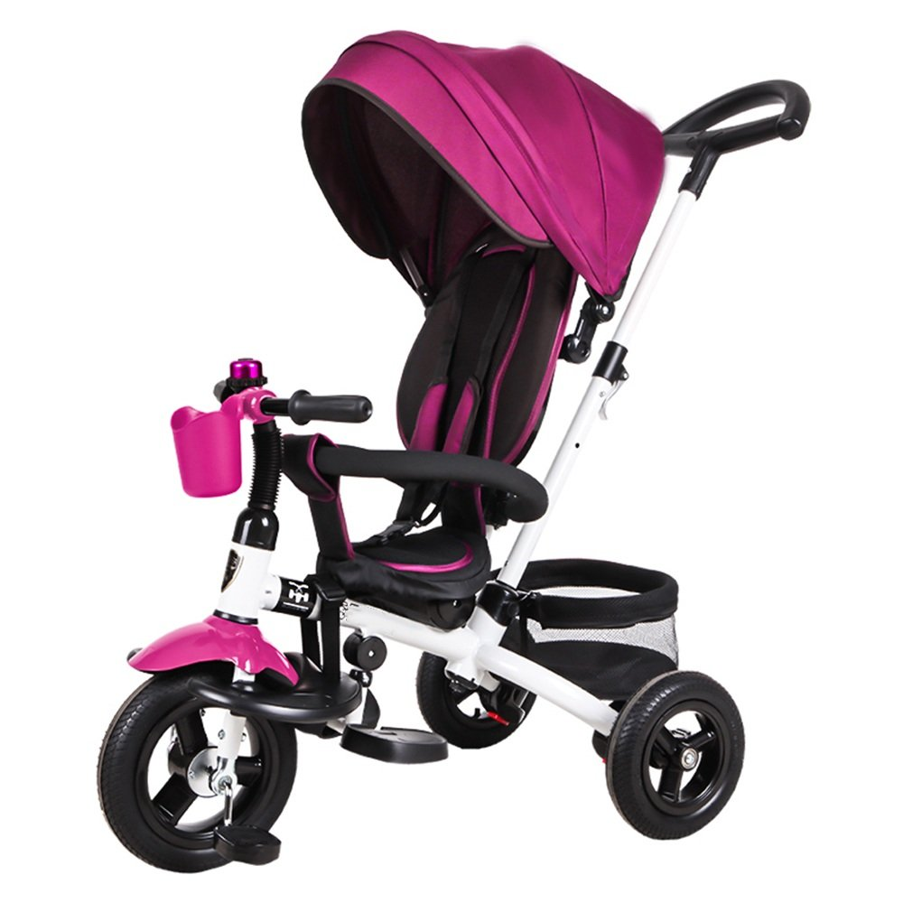HAIZHEN マウンテンバイク 赤ちゃんの三輪車18ヶ月 キッズトライアックと5年間複数の調整可能なサンシェードサイレントホイールの容量最大25キロ 新生児 B07C8BW48Fパープル ぱ゜ぷる