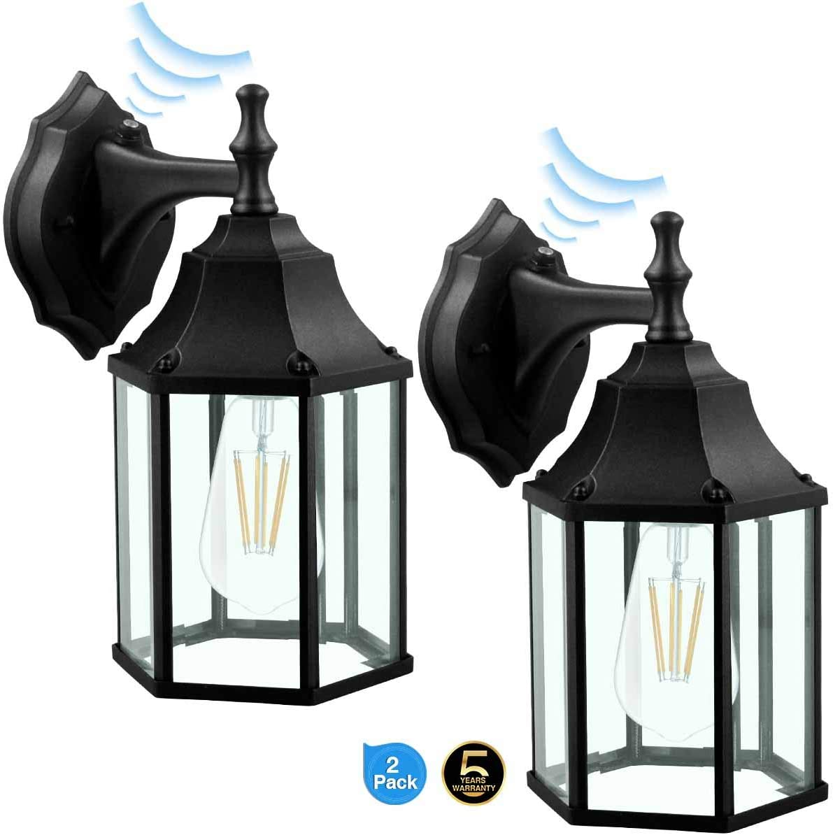 Dusk to Dawn Sensor Outdoor Wall Lantern Wall Sconce as Porch Light, 100-150W Equivalent , 1100 Lumen, Aluminum Housing Plus Glass, Matte Finish, Outdoor Rated,Black for 2Pack 9149