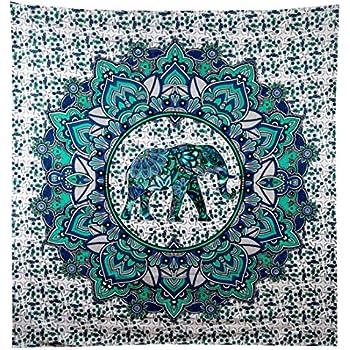 Turquoise Green Elephant Mandala Tapestry Elephant Tapestries Hippie Tapestry Mandala Tapestries Wall Tapestries Bohemian Tapestries in Teal Aqua Indian ...