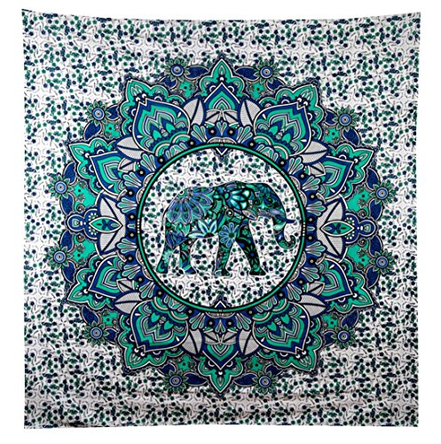 Turquoise Green Elephant Mandala Tapestry Elephant Tapestries Hippie Tapestry Mandala Tapestries Wall Tapestries Bohemian Tapestries in Teal Aqua Indian Tapestry Wall Hanging by Jaipur Handloom