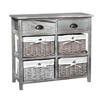 Melody Maison Two Drawer And Four Wicker Basket Storage Unit