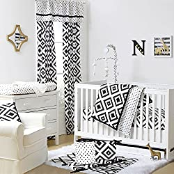 Black and White Tile Boy's 5 Piece Crib Bedding Set with Bumper by The Peanut Shell