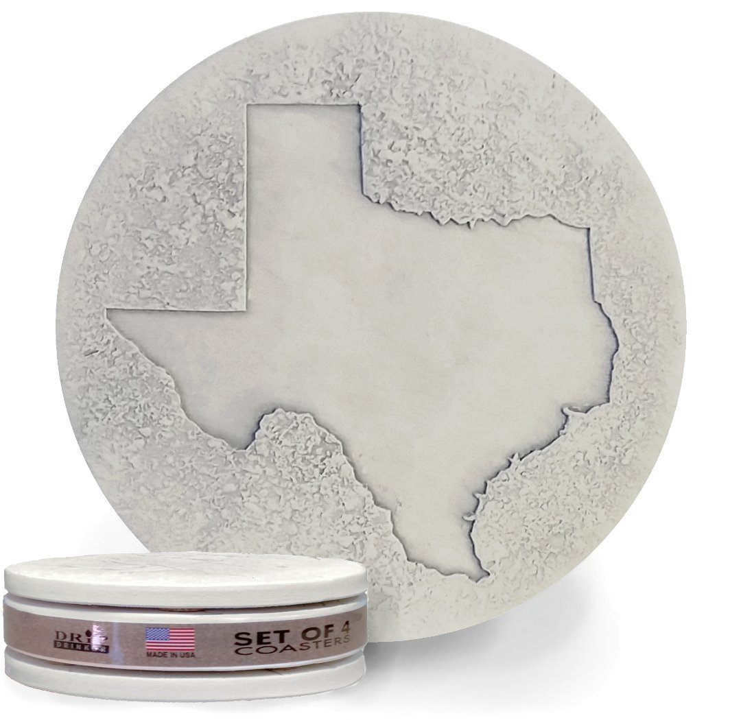 Drink Coasters by McCarter Coasters, Texas, Absorbent, Light Beige 4.25 inch (4pc)
