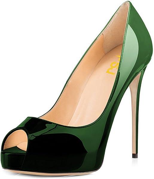 975b03252bb6 FSJ Women Graceful Peep Toe Pumps High Heels with Platform Slip On Party  Prom Shoes Size 4-15 US