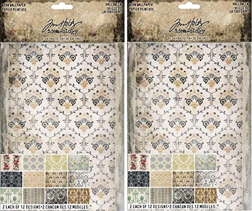 Tim Holtz Idea-Ology 2018 Worn Wallpaper, Halloween - Bundle of Two Packages