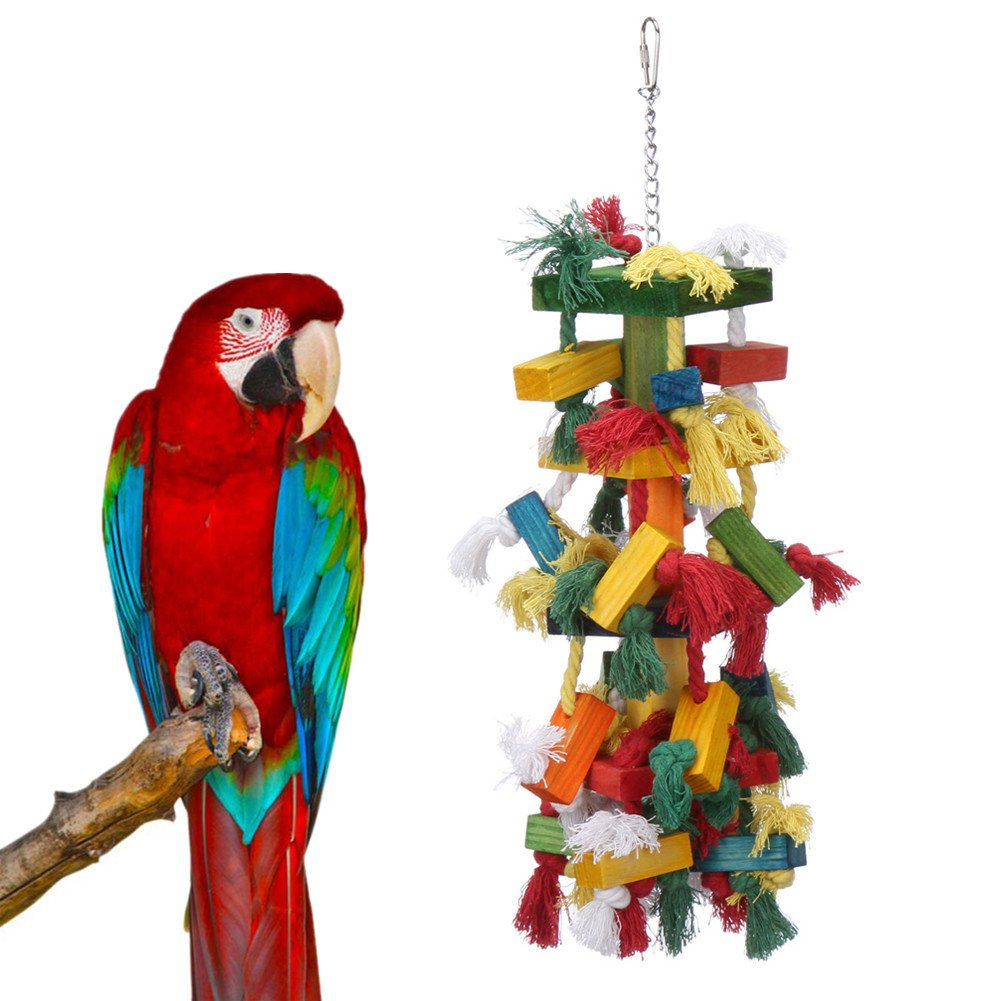 Parrot Toy,Pure Natural Colorful Knot and Block Rainbow Chewing Hanging Toy ¡­