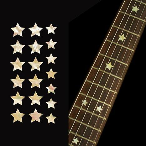 Adhesivos para mástil de guitarra y bajo, estrellas, blanco perla ...