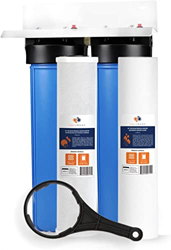Aquaboon Big Blue 20 x 4.5 2-Stage Whole House Water Filter System 1 Port Bracket Sediment and Carbon 5 Micron Certified According to NSF