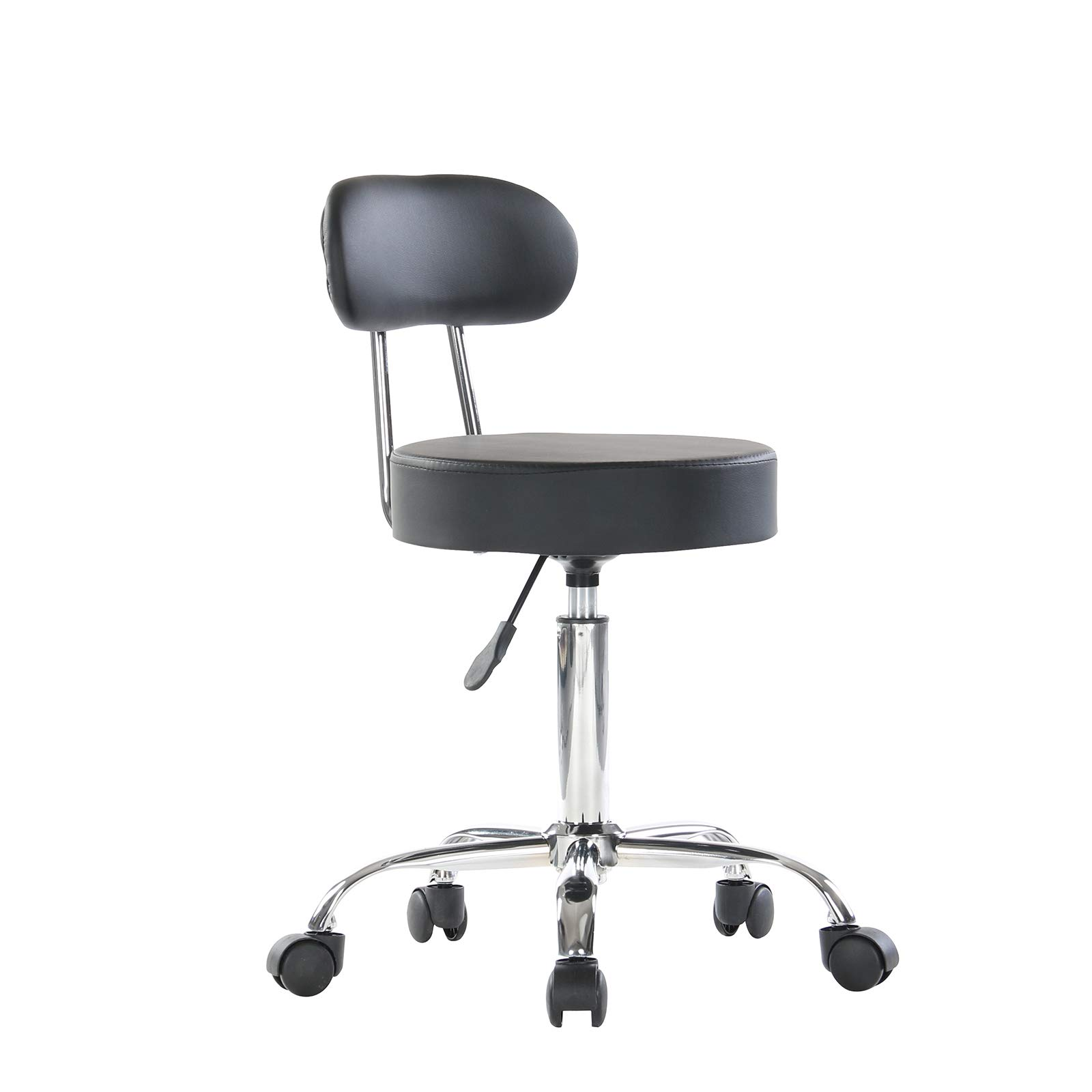 Artechwoks Round Rolling Massage Stool PU Leather Height Adjustable Swivel for SPA Medical Salon Stools Chair with Backrest and Wheels Black by Artechworks