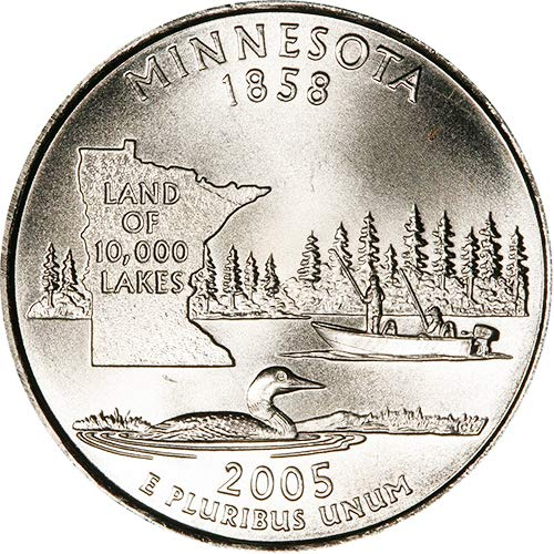 2005 P /& D Satin Finish Minnesota State Quarter Choice Uncirculated US Mint 2 Coin Set