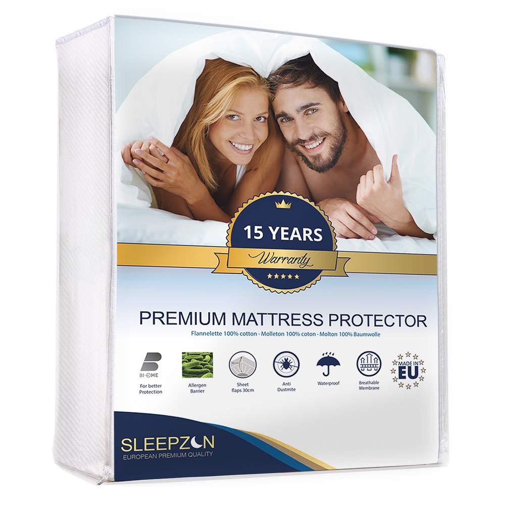 SLEEPZEN Protector de Colchón Impermeable 200x200cm, Muletón 100%, Cubre Colchón Anti-ácaros