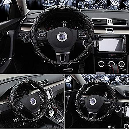 QUEEN ONLY D - Black Upgrade Crystal Queens Car Steering Wheel Cover with Noble Crown Soft Leather Auto Stylish Collection Accessories Universal 15//38cm Bling Matrix Diamond